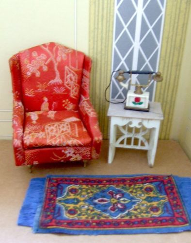 VINTAGE PETITE PRINCESS DOLLHOUSE MINIATURE RED SALON WING CHAIR TELEPHONE TABLE  | Ideal Petite Princess Dollhouse Miniatures | Pinterest | Telephone Table  ...
