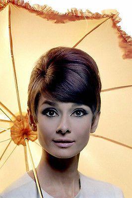 AUDREY HEPBURN FRESH head shot with umbrella poster COLLECTIBLE rare 24X36