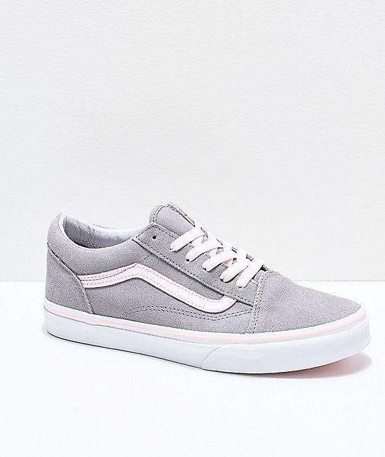 Vans Old Skool Grey & Light Pink Skate Shoes | Zumiez | Zapatos ...
