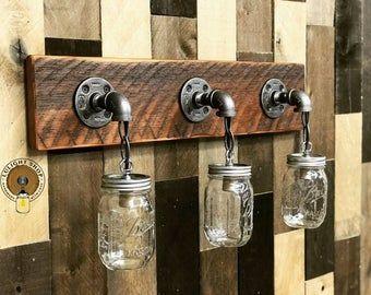 Photo of RECLAIMED WOOD Mason Jar Light Fixture, Bathroom Lights, 3 Lights Fixture, Vanit …