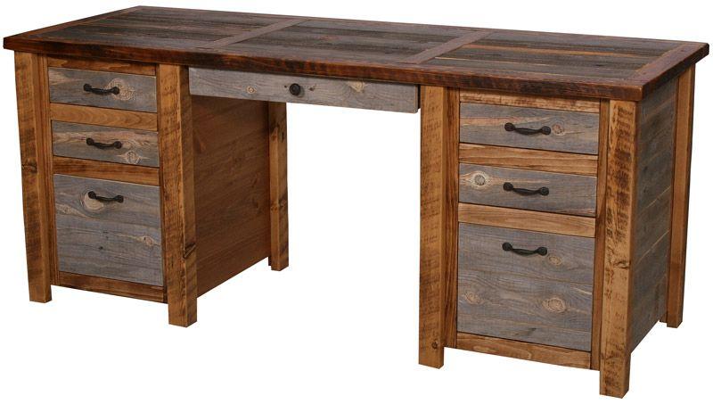 Rustic Americana Hardwood Executive Desk Home Office: Natural Barnwood Executive Desk In 2019