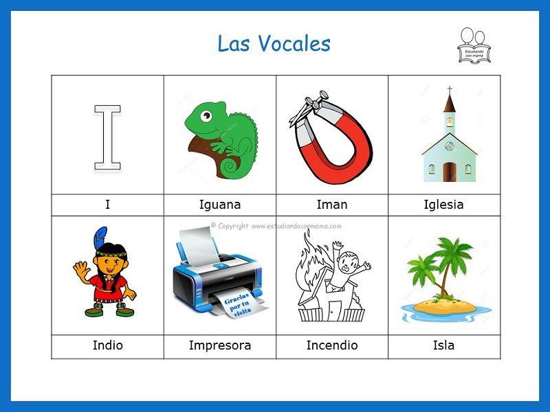 Palabras Que Inician Con La Vocal I Vocales Para Ninos Las Vocales Preescolar Abecedario Para Ninos