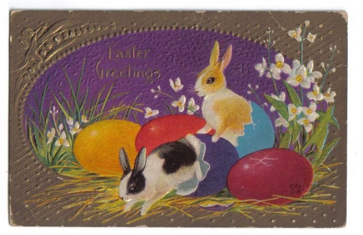 Bunny Rabbits Hatching Out of Colored Eggs~Easter Greetings~1907+
