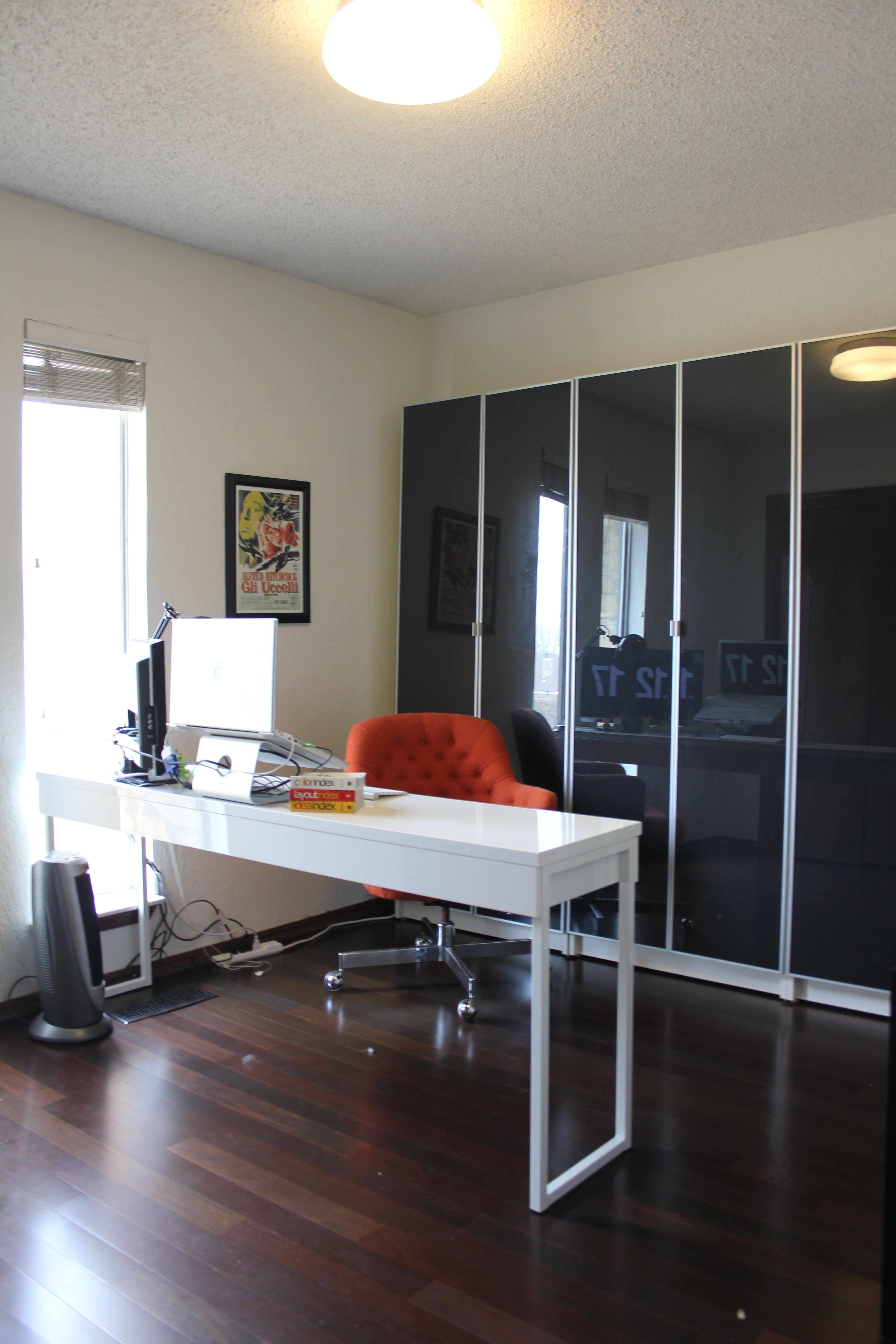 Black And White Office The House On Penny Lane Ikea Billy Bookcases With Gl Doors Lined Fabric