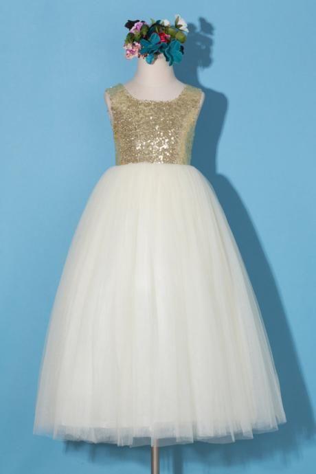 Flower girl dress/Gold sequin flower girl dress/Tulle flower girl ...