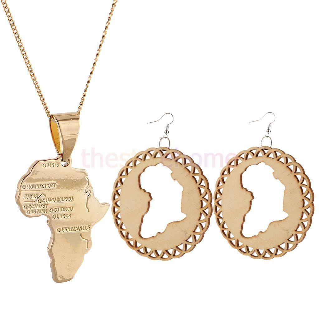 Magideal africian map k gold pendant necklace wood earring jewelry