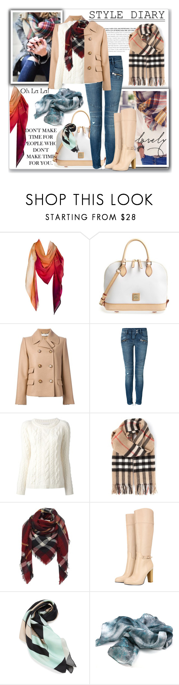 """""""There Can't Be Too Many Scarves for Fall"""" by katyusha-kis ❤ liked on Polyvore featuring WALL, Leona Lengyel, Dooney & Bourke, STELLA McCARTNEY, Balmain, Dondup, Burberry and Louisa Parris"""