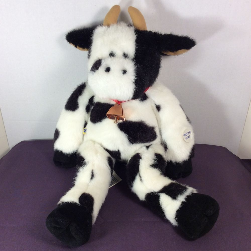 "Build-A-Bear Workshop (BABW) Plush Black/White Cow Moo Sounds Cow Bell 18""…"