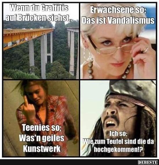 Wenn du Graffitis auf Brücken siehst... Erwachsene so..,  #auf #Brücken #erwachsene #funnyphotohilariouspictures #Graffitis #siehst #Wenn