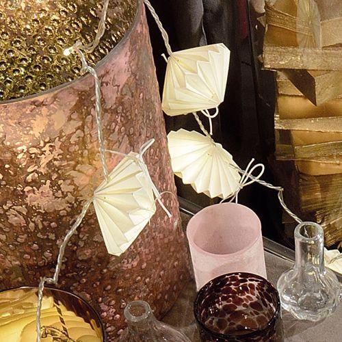 Guirlande lumineuse origami en papier blanc Disque Jardin d\'Ulysse ...