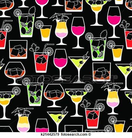 álcool, bebidas, e, coquetéis, seamless, padrão, em, apartamento, style. Ampliar Gráfico Clipart