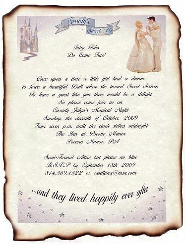 Qty 50 Cinderella Princess Enchantment Theme Wedding Invites, Sweet 16,  Birthday, Party Scroll Invitations Princess And Prince Dancing