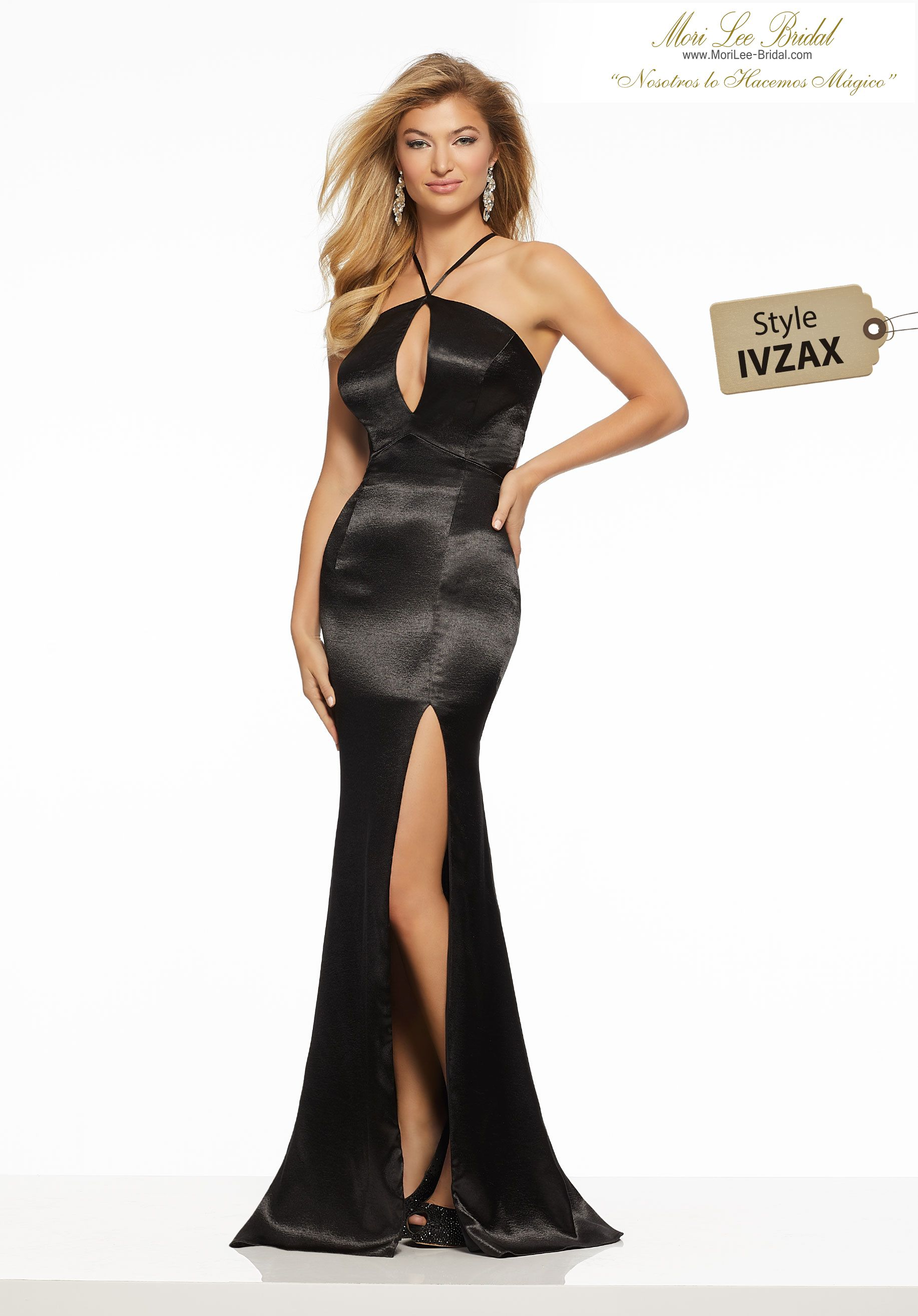1d7d431aae12 Hammered Satin Sleek Hammered Satin Prom Gown Featuring a High, Keyhole  Neckline and Side Slit