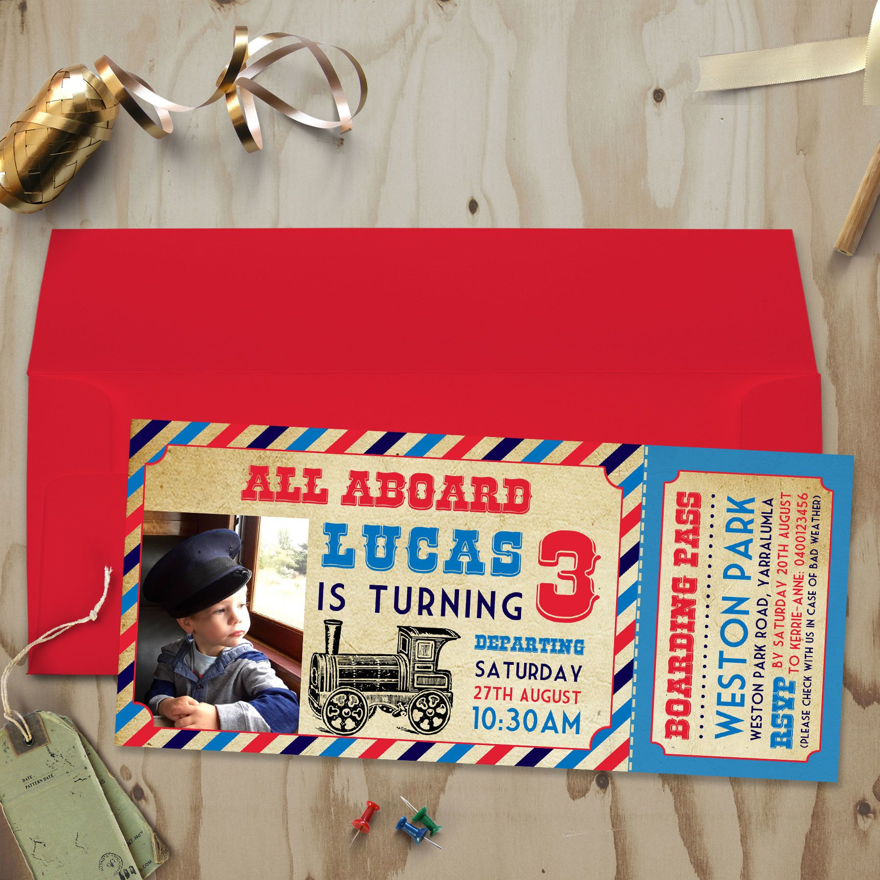 Vintage Train Invitation- personalized party invitation for your ...