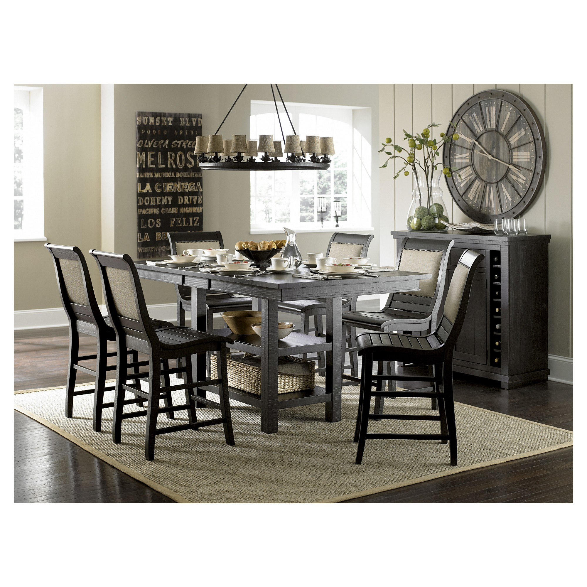 Willow rectangular counter height dining table distressed black