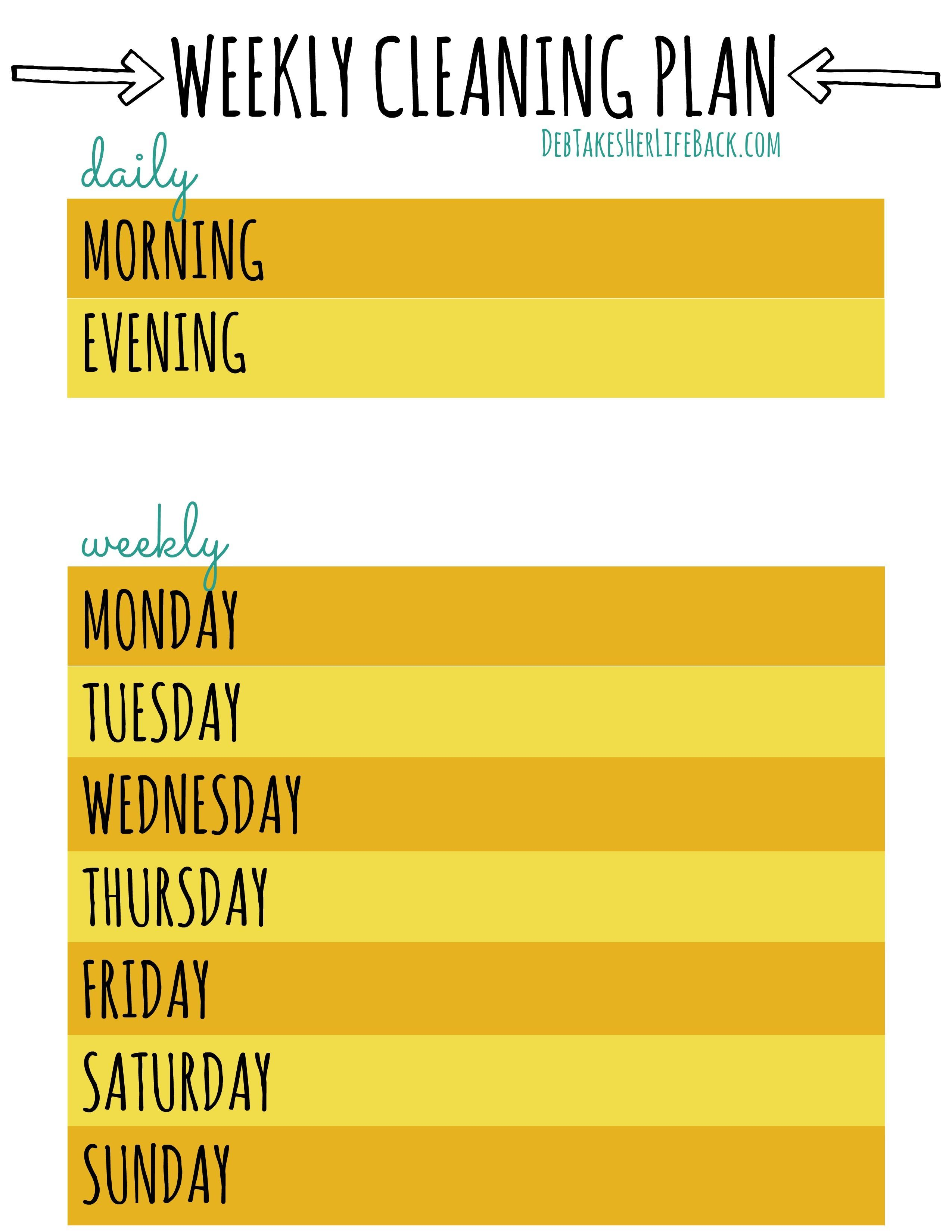Weekly Cleaning Plan Free Download Weekly Cleaning Plan Weekly Cleaning How To Plan