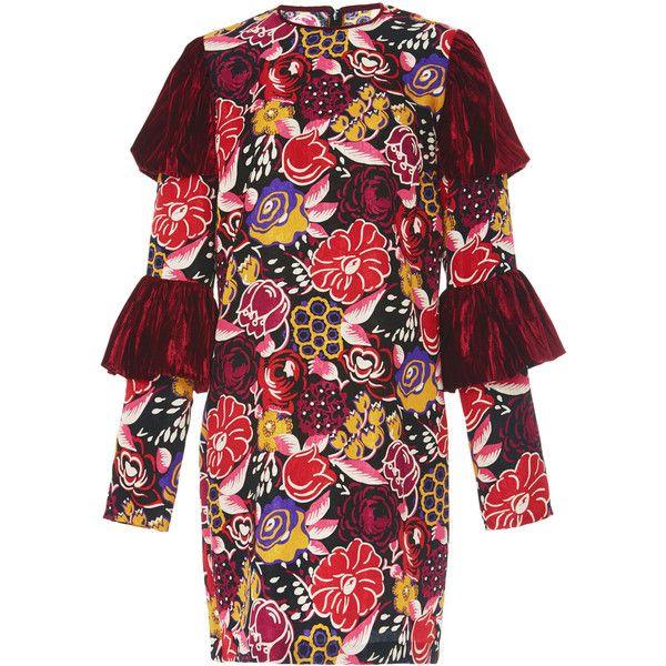 Tiered sleeve jacquard dress | Moda Operandi ($680) via Polyvore featuring dresses, tiered dress, sleeved dresses and jacquard dress