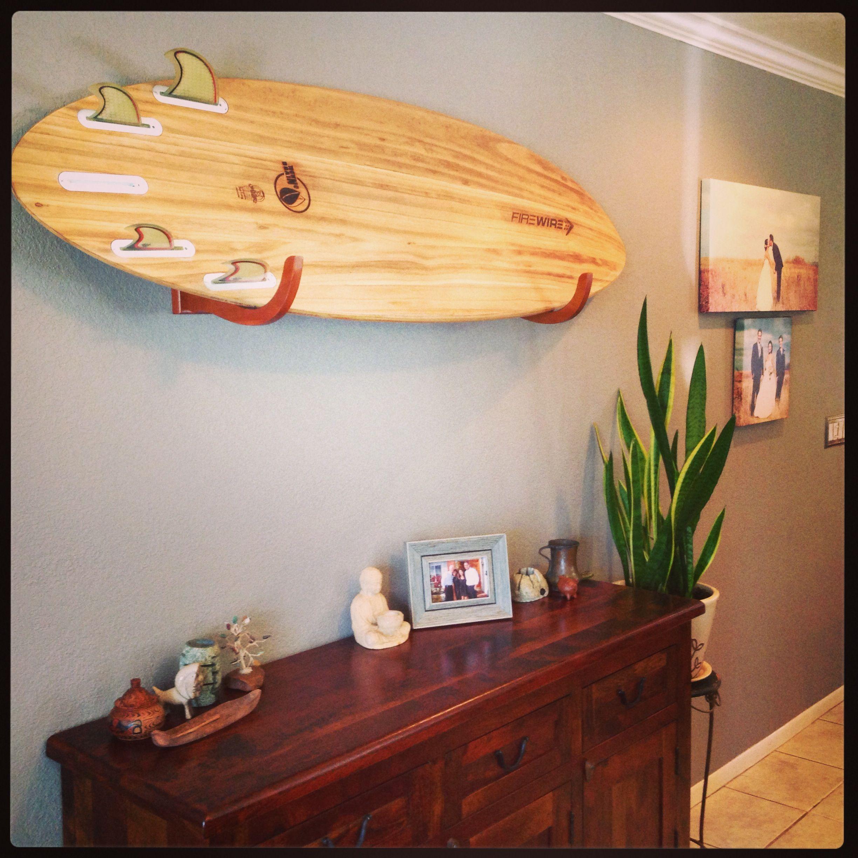 Dark Stained Wooden Surfboard Wakeboard Wall Rack