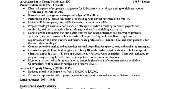 Property Manager Resume Sample And Tips  Vina Share