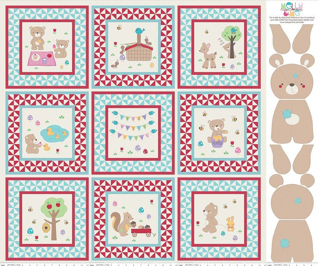 PATCHWORK//CRAFT FABRIC TEDDY BEARS PICNIC 100/% COTTON PANEL AND FAT QUARTERS