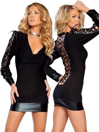 corset style long sleeve mini dress/tunic in black also