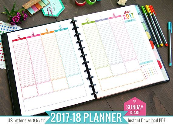 Planner Printable Pdf File  Sunday Start Weekly