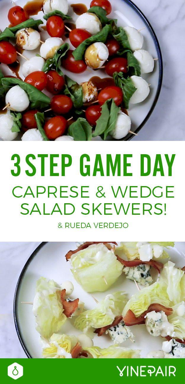 Three Step Game Day Caprese Wedge Salad Skewers Rueda Verdejo Video Salad Recipes Healthy Lunch Healthy Salad Recipes Healthy Finger Foods