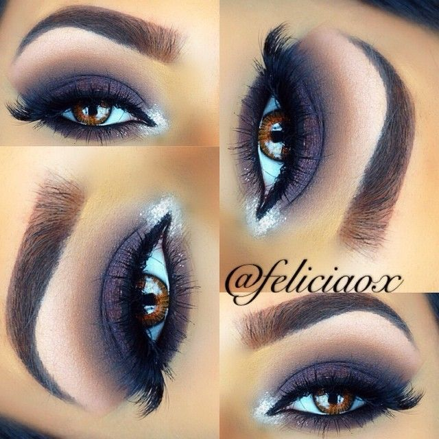 feliciaox using motives cosmetics my beauty weapon palette (smoke, chocolate, and fab) and bhcosmetics day & night palette (for the purple shade). Glitter - houseofsparklez silver glitter
