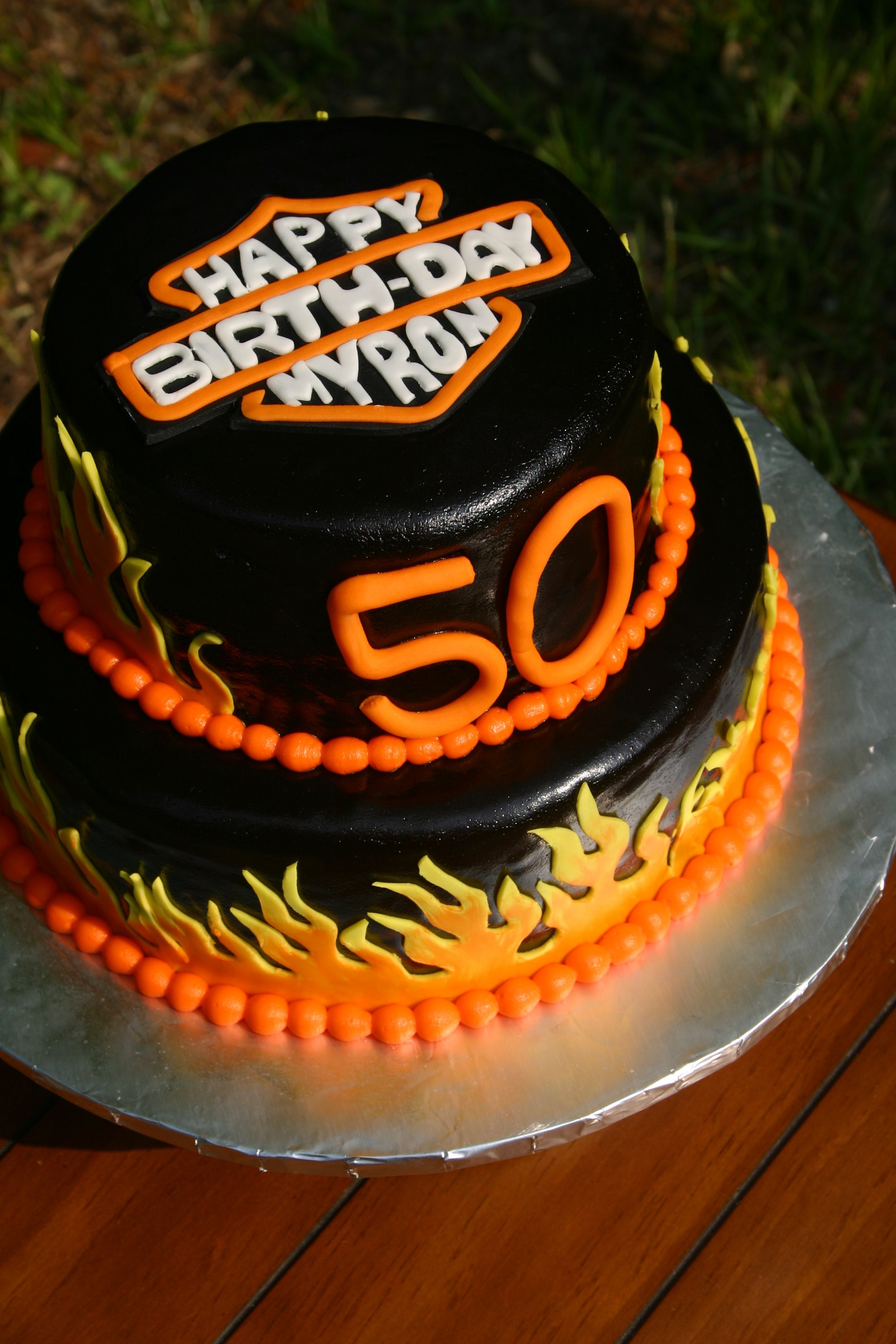 Harley Davidson Birthday logo cake 50th Birthday Party ideas