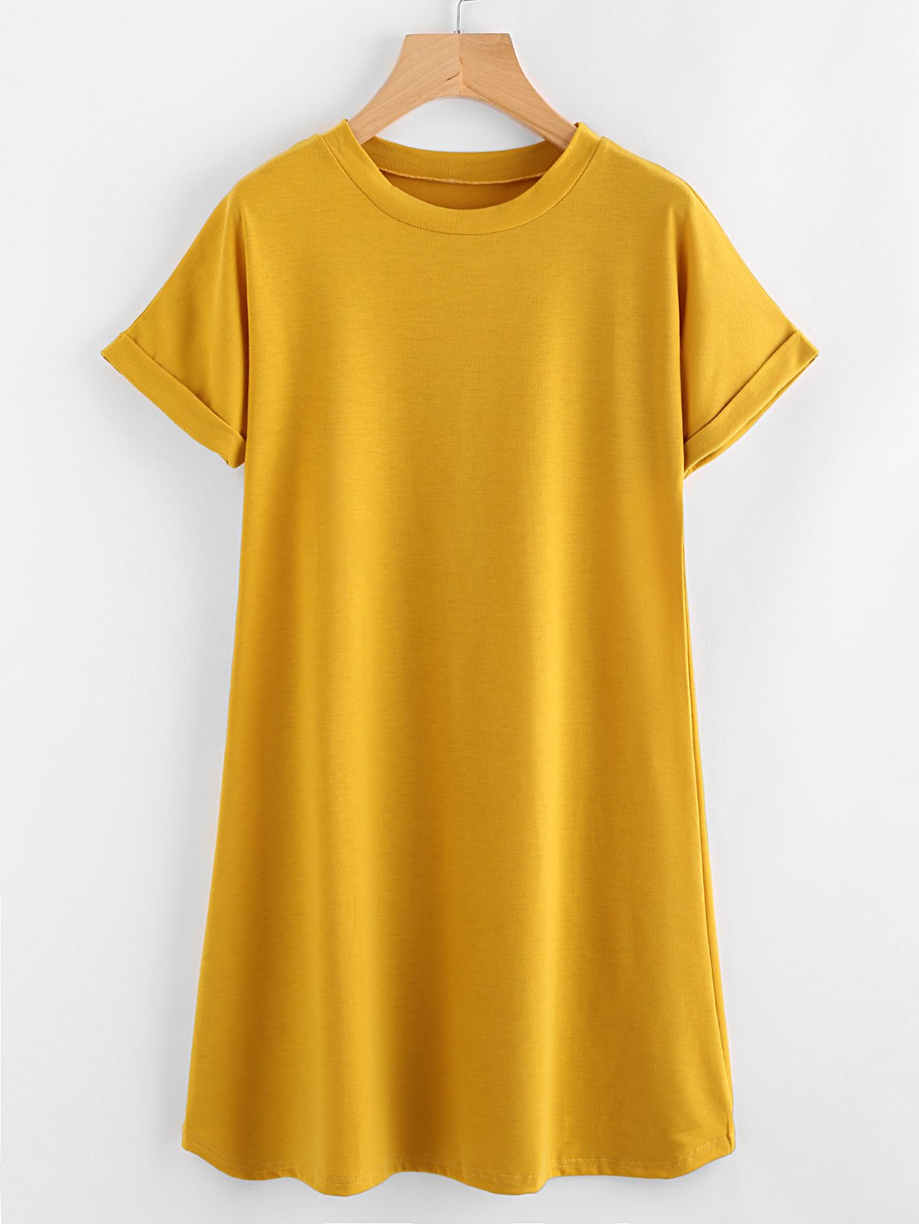 c4fee6383f4 Shop Rolled Sleeve Basic Tee Dress online. SheIn offers Rolled Sleeve Basic  Tee Dress   more to fit your fashionable needs.