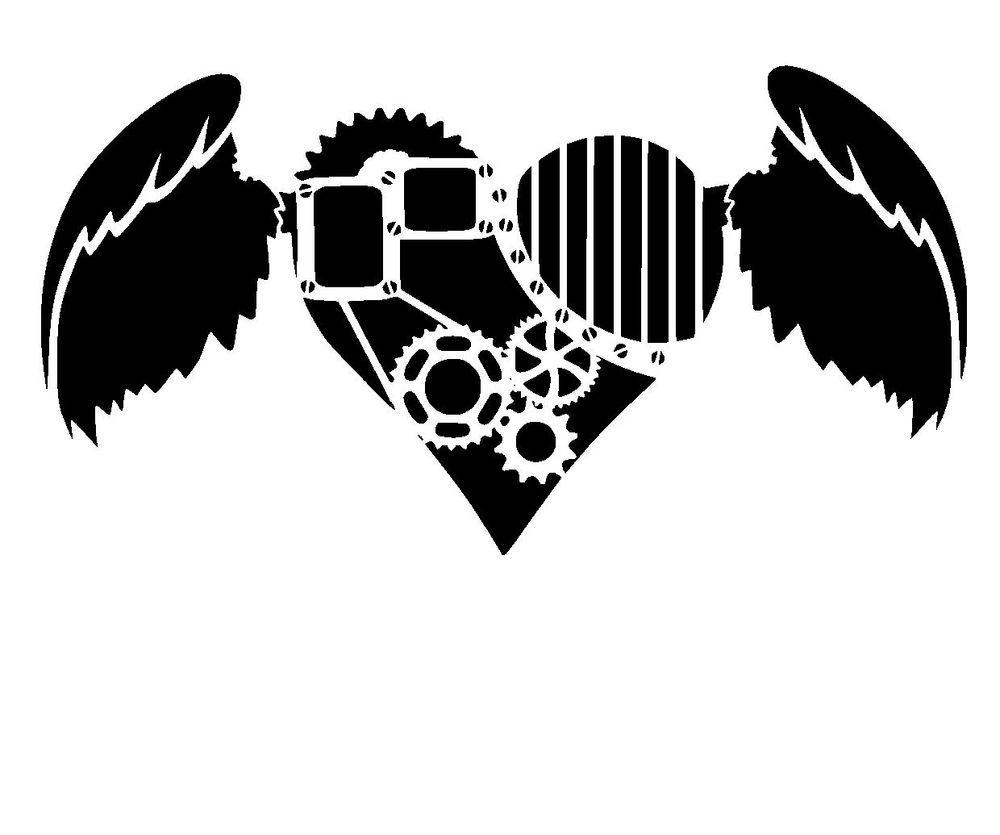 steampunk heart stencil 1  craft,fabric,glass,furniture,wall art up to A0