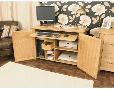 aston solid oak hidden. Aston Oak Hidden Home Office (Tesco) Solid D