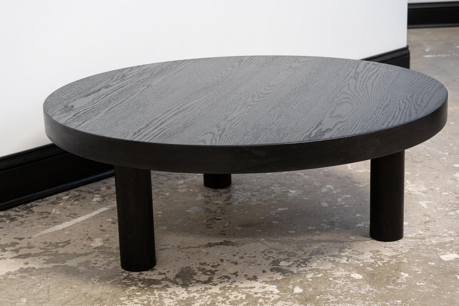 Round Ebonized Oak Coffee Table Round Leg Free Etsy Oak Coffee Table Round Coffee Table Coffee Table [ 1058 x 1588 Pixel ]