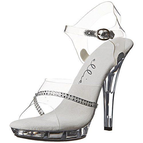 f4c4cfcb44c0 5 Inch Womens Sexy Evening Shoes Clear Sandal Mid Platform With Rhinestones  Size 6     Details can be found by clicking on the image.