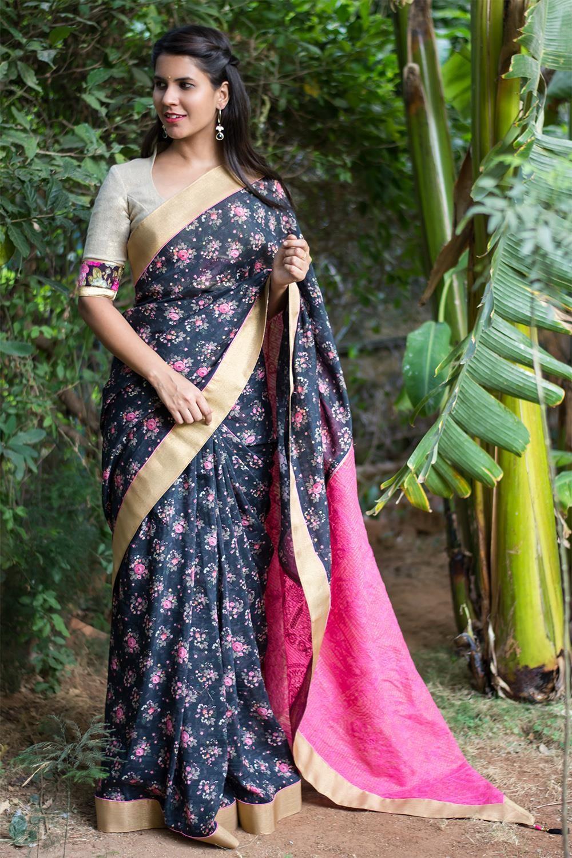 9bcb04c7b67513 House Of Blouse Floral printed black chanderi cotton saree | Indian ...