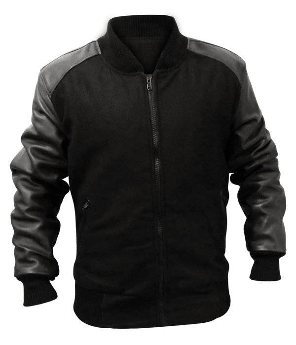 Mens Big And Tall Fabric Body Black 100 Leather Sleeves