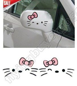 Wall and More Colour Size Black-Red Trucks MacBook 6.5 x 3.5 Lovely Hello Kitty Rear Mirror Vinyl Sticker Die Cut Vinyl Decal Sticker for Bumper /& Car Window Laptops