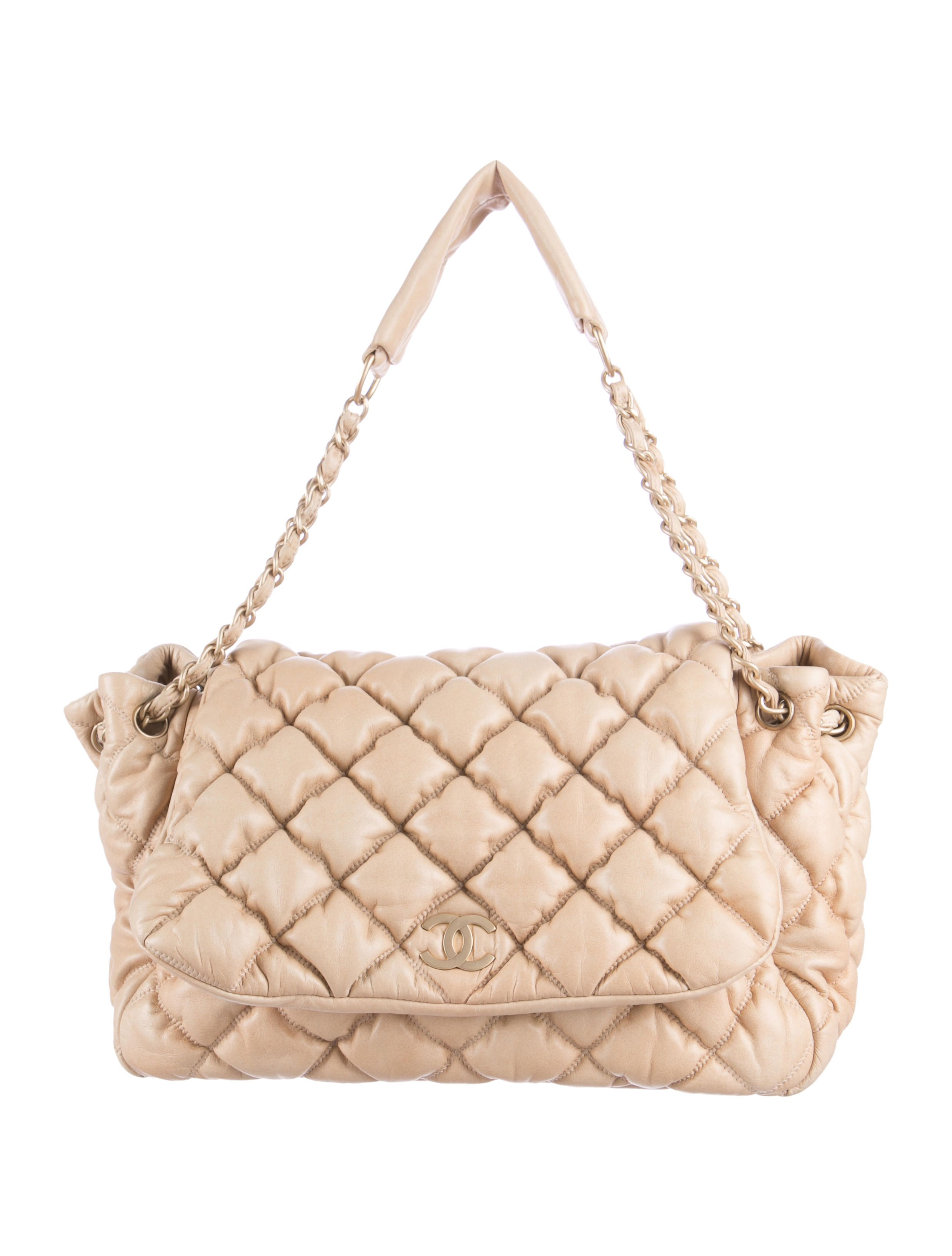 ccf36373a6ac Tan leather Chanel Bubble Quilt Accordion Flap Bag with satin gold-tone  hardware, dual chain-link and leather shoulder straps, tonal satin lining  with dual ...