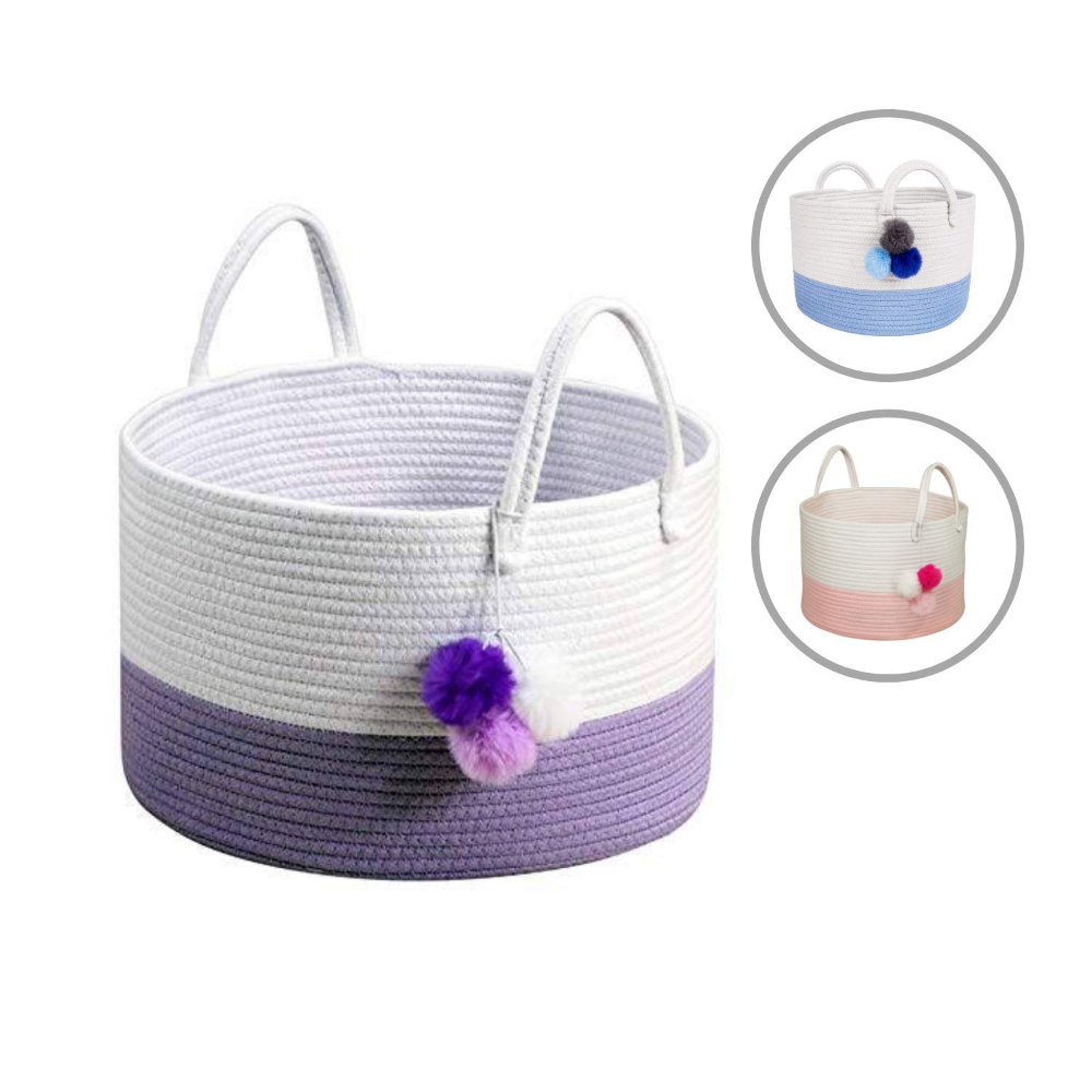 Large Woven Laundry Basket Storage with Handle Cat Cotton Rope