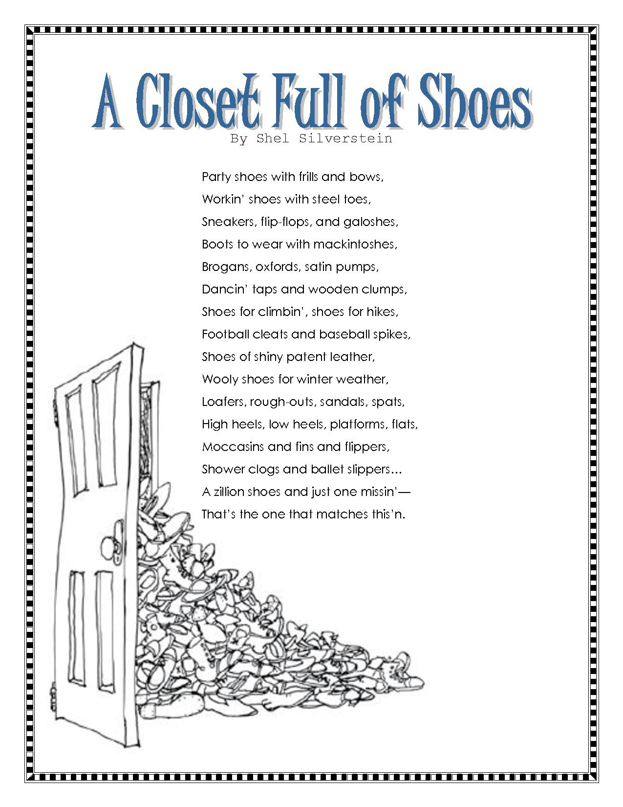 worksheet Shel Silverstein Worksheets closet full of shoes by shel silverstein silverstein