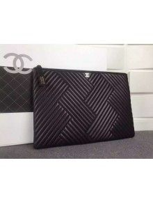 Chanel A82254 Large Quilting Lambskin Zipped Pouch Black Fall-Winter 2015/16