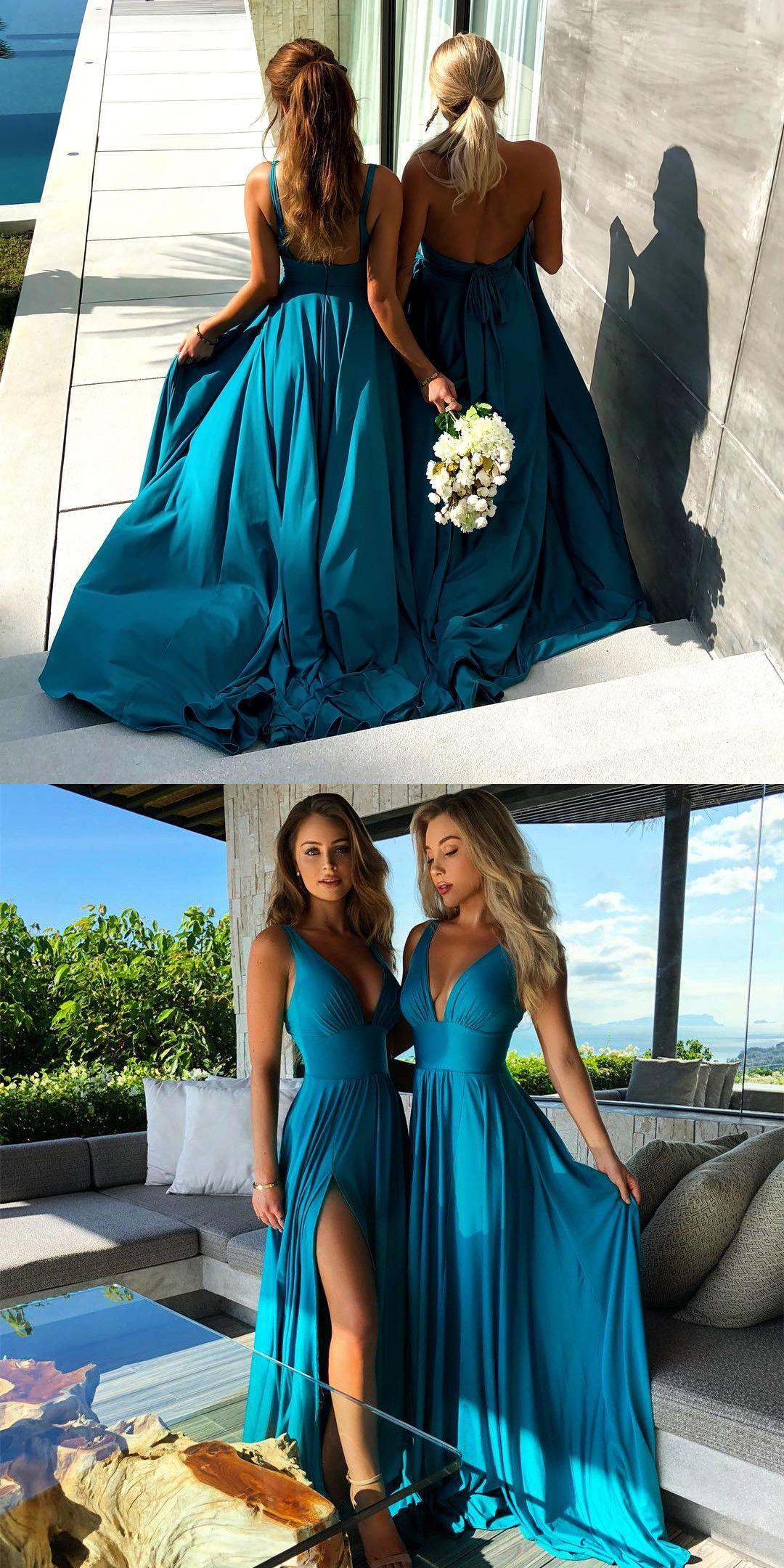 Aline vneck turquoise satin bridesmaid dress with split in