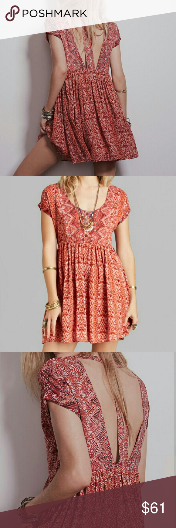 f3d75b901899 Free people sundown dress Orange print babydoll dress with back cutouts.  Slightly longer in the back than the front. Never worn.