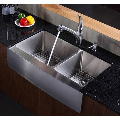 36 L X 21 W Double Basin Farmhouse Kitchen Sink With Basket Strainer Stainless Steel Farmhouse Sink Kitchen Sink Design Modern Kitchen Sinks