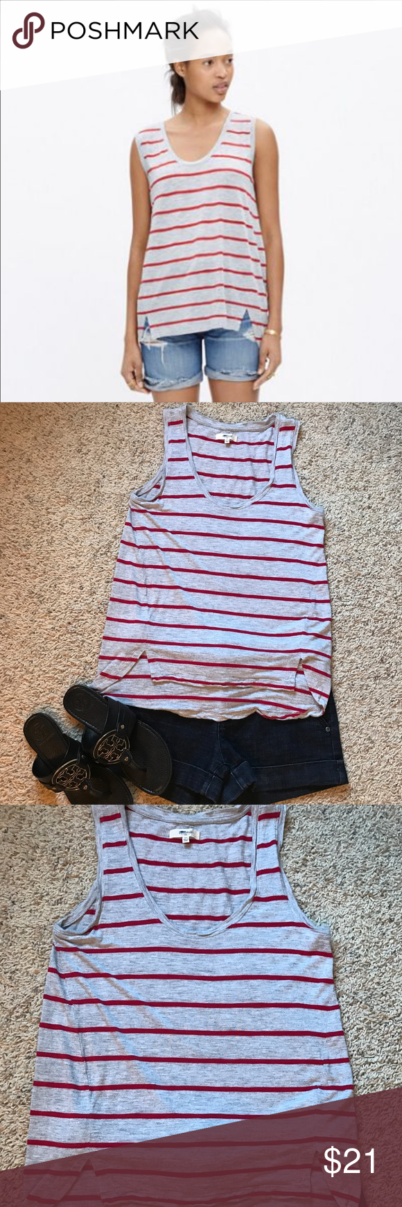 """NWT MADEWELL Anthem Tank in Stripe Size XS NWT MADEWELL Anthem Tank in Stripe  Size: XS Color: Gray and Red Style: C7306 Retail: $42  Measurements:  Bust: 17"""" Length:  22 1/2"""" front 26"""" in back.   Madewell Description:   """"Laid-back and undeniably flattering, this scoopneck tank top has a fresh longer-in-back shirttail hem. Crafted of our signature Anthem fabric—the one with that extra-soft feel and perfect drape—this is one tank we can't help but hit replay on.""""  Drapey fit. Viscose. Hand…"""