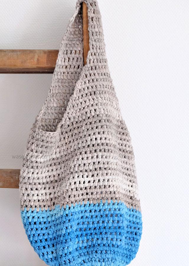 Meine erste selbstgehäkelte Tasche. – Bolsa de moda