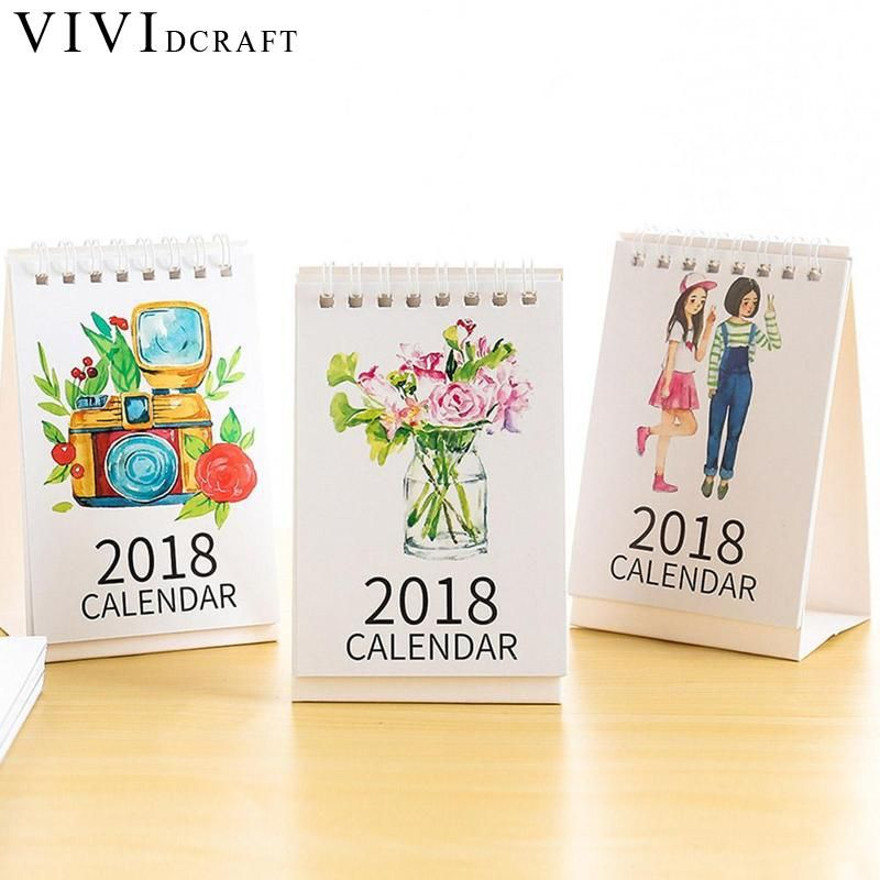 Vividcraft 2018 Nieuwjaar Kalender Desktop Papier Kalender 2018 Dual Dagelijkse Scheduler Staande Kantoor Tafel Planner Jaarlijks Agenda
