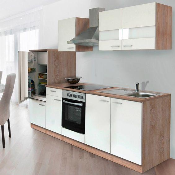 Respekta Küchenzeile KB270ESWC 270 cm Weiß-Eiche Sägerau Nachbildung - küchenblock 260 cm