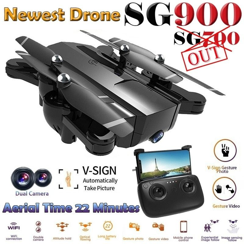 22 Minutes Long Battery Life Newest SG900 Drone Folding Full
