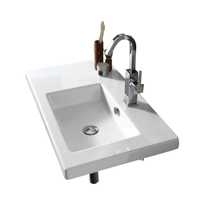 Photo of Condal Ceramic 32″ Wall Mount Bathroom Sink with Overflow